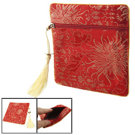 Embroidery Florals Decor Zipper Closure Coin Bag Pouch Red w Beige Tassel