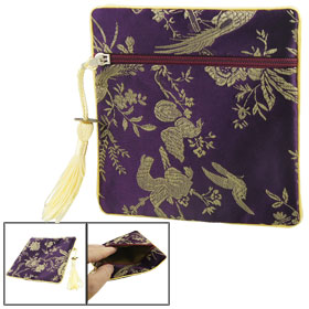 Chinese Embroidery Flower Zipper Bag Money Coin Purse Dark Purple for Lady