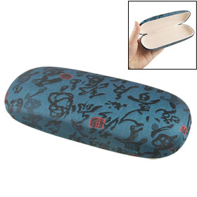 Chinese Characters Accent Steel Blue Eyewear Box Glasses Holder Case