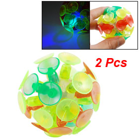 2 Pcs Red Green Yellow Soft Plastic Flashlight Glow Bounce Ball Toy