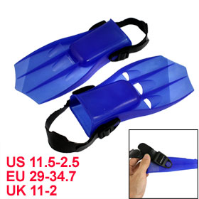 Boys Adjustable Strap Blue Plastic Fin Shaped Swimming Diving Flippers