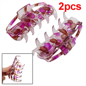 Women Leaves Printed Clear Purple Brown Hair Claws Clips 2 Pcs