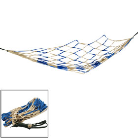"Backyard Khaki Blue Nylon Hang Hammock Mesh Net Sleeping Bed 79"" x 43"""