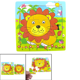 Cartoon Lion Sitting Garden 9 Pcs Wooden Jigsaw Puzzle Toy for Child