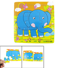 Child 9 Pcs Wood Block Cartoon Wooden Blue Elephant Jigsaw Puzzle Toy