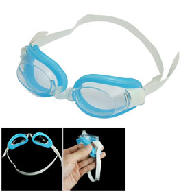 Blue Silicone Skirt White Adjustable Head Strap Swimming Goggles