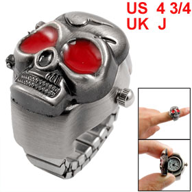 Red Silver Tone Skull Style Stretchy Band Finger Ring Watch US 4 3/4