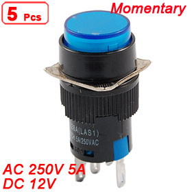5 x Blue Light Round Cap Momentary 1NO+1NC Panel Push Button Switch DC 12V