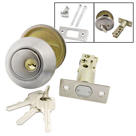 "1 3/8""-2"" Thickness Door Single Cylinder Deadbolt Lock Hardware + 3 Keys"