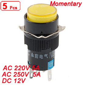 5 x DC 12V Yellow Light 5 Pin Momentary Panel Mount Round Push Button Switch