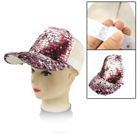 Amranth Glittery Sequin White Mesh Sun Visor Hat Cap for Women
