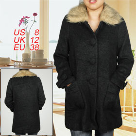 Women Faux Fur Collar Decor Single Breasted Nylon Lining Worsted Coat Black M