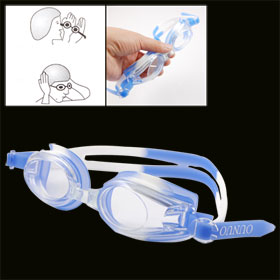Blue White Plastic Frame Oval Lens Adjustable Strap Swimming Goggle w Case