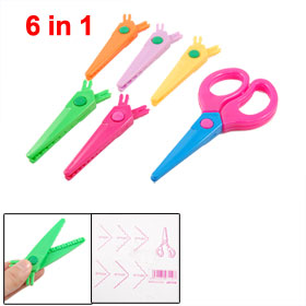 6 in 1 Multicolor Plastic Safety Blades Paper Cutting Scissors Set