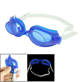Blue Silicone Ear Cup Adjustable Headstrap Swimming Goggle w Nose Clip Earplugs
