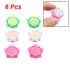 6 Pcs Magenta Green Clear Star Plastic Coated Magnetic Fridge Magnet Sticker