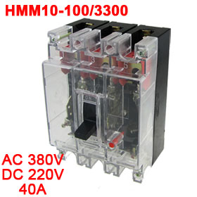 Transparent AC 380V DC 220V 40A 3 Poles 3P MCCB Moulded Case Circuit Breaker