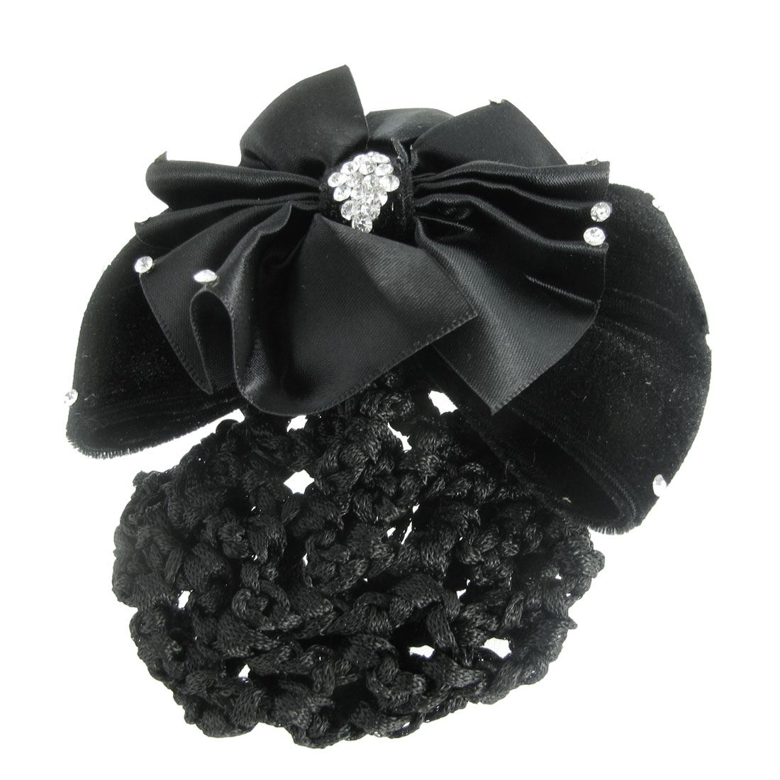 Women French Clip Rhinestone Decor Flower Bowknot Hairclip Hairnet Black