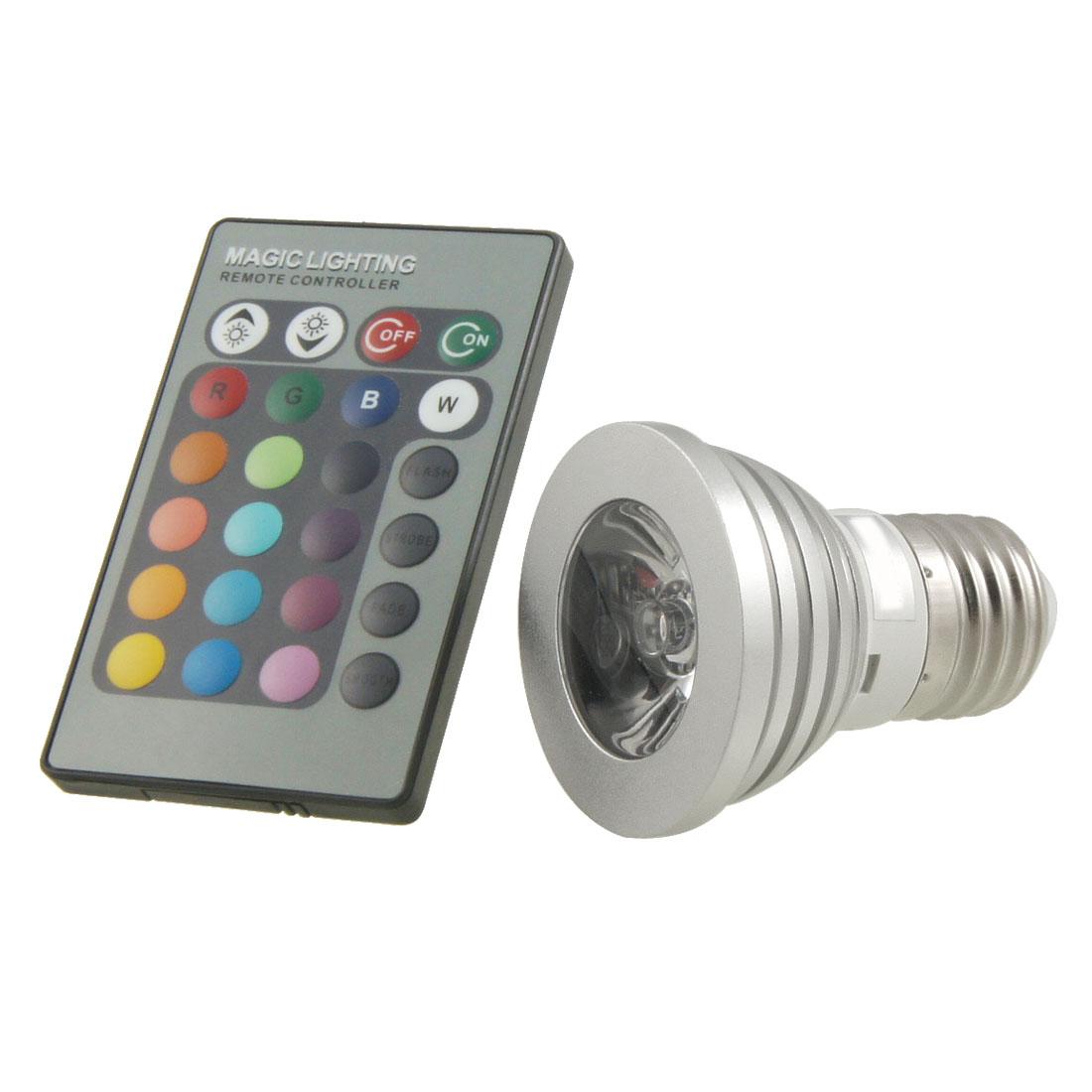 Remote Control E27 Base 3W Multi Color Light LED Lamp Bulb AC 85V-265V