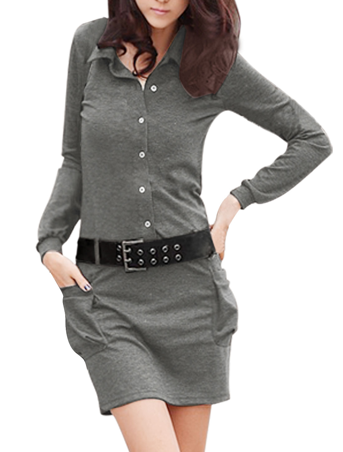 Woman Long Sleeve Baggy Pockets Belted Dress Dark Gray L