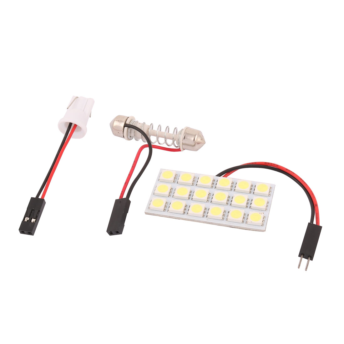 White 18 LED Panel 5050 SMD Dome Bulb Light Lamp + T10 Festoon Adapter
