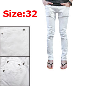 Men White Belt Loop Korean Style Multi Pockets Casual Pants W32