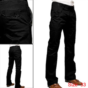 Mens Solid Straight Casual Trousers Slim Fit Pants Trendy Black W32
