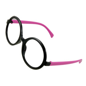 Ladies Black Magenta Plastic Rims Glasses Frame Decoration