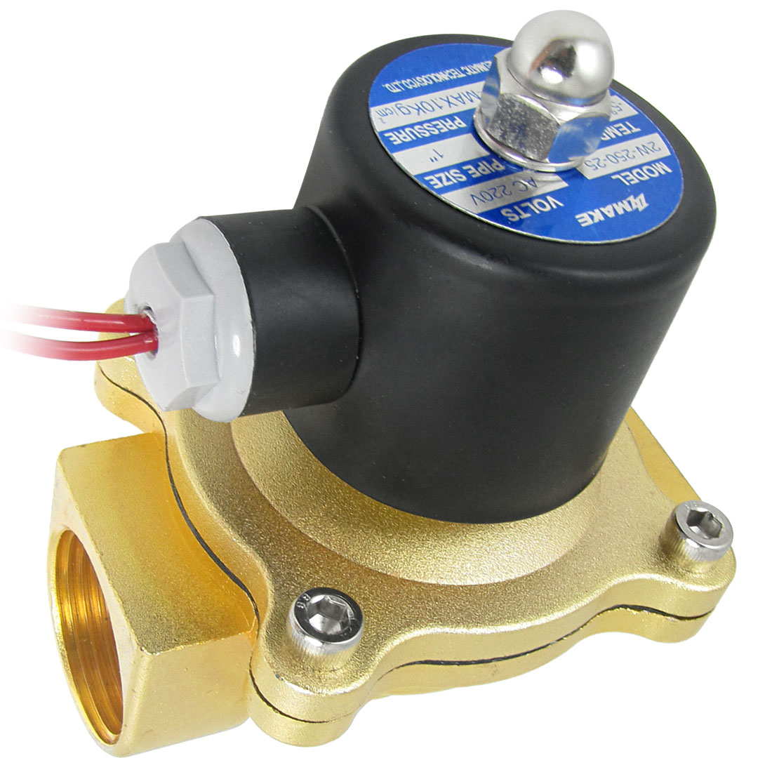 AC 220V 30mm Thread 2 Way 2 Position Brass Pneumatic Solenoid Valve