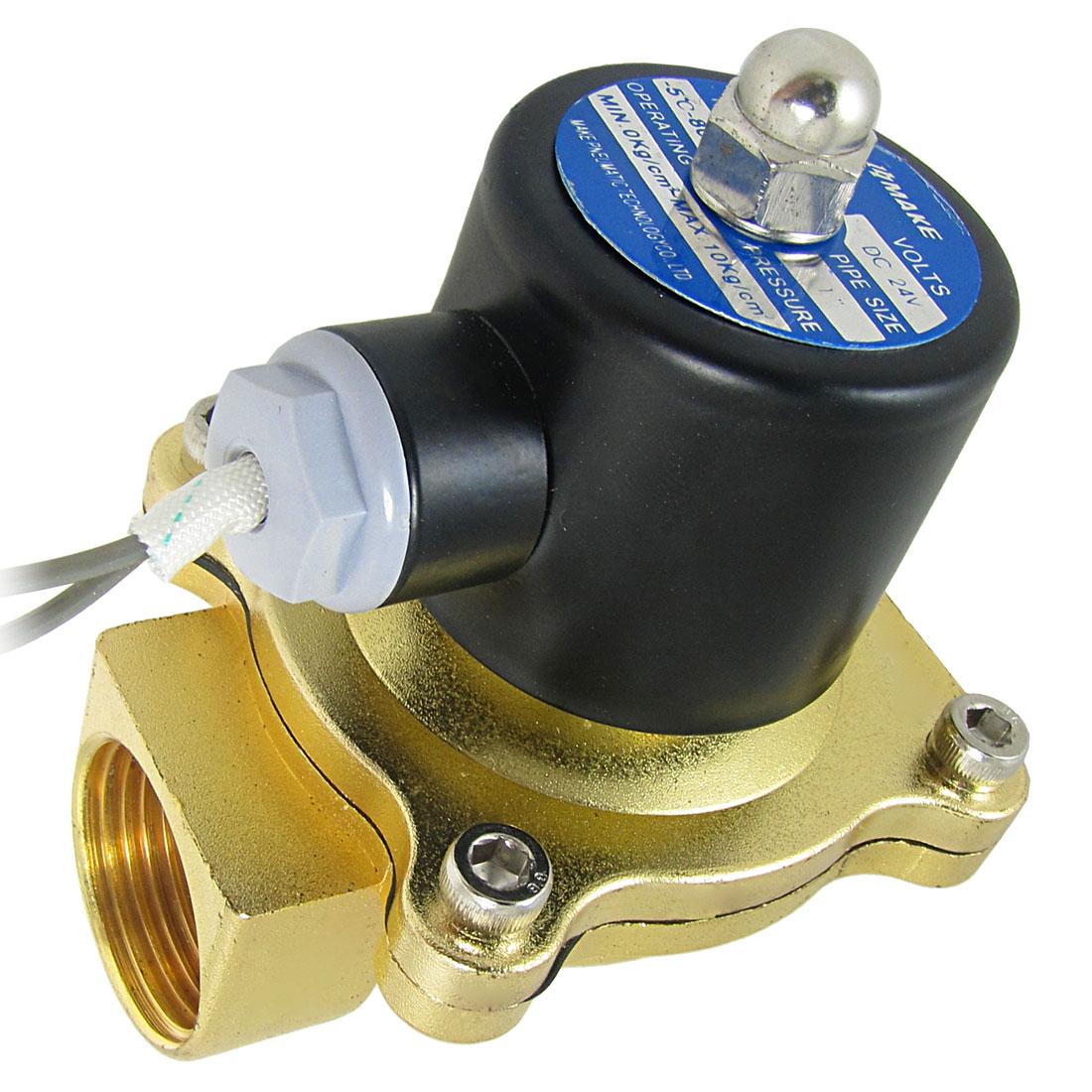 DC 24V 1BSP Brass Thread Water Control Solenoid Valve