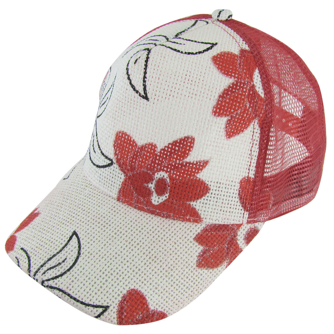 Women Nylon Mesh Red Flowers Prints Wide Visor Adjustable Slouch Cap