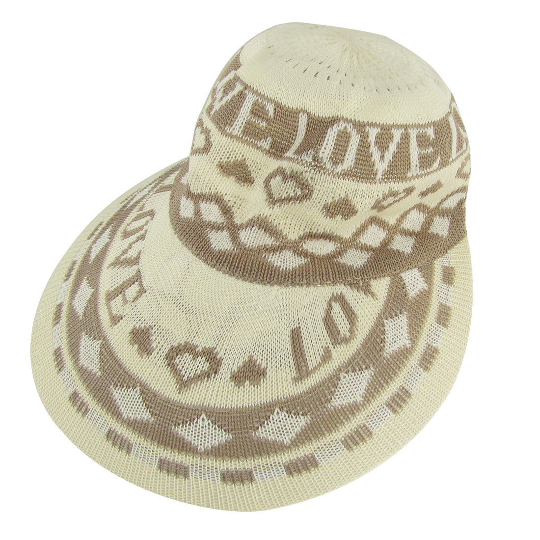 Women Sun Visor Letters Prints Acrylic Knitting Hat Ivory Brown