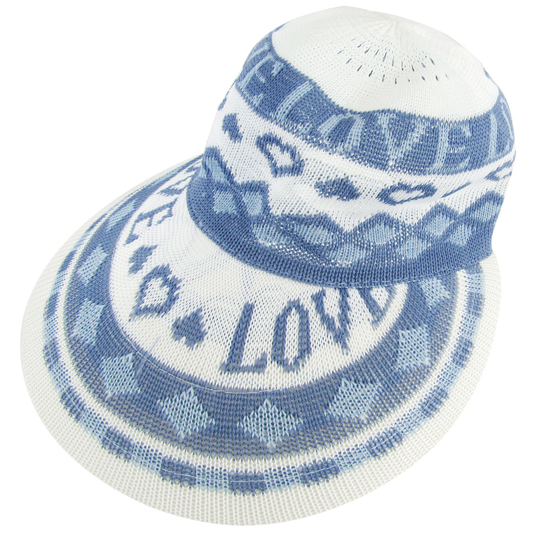 Blue Letters Prints Sun Visor Acrylic Knitting Poke Bonnet Hat for Lady