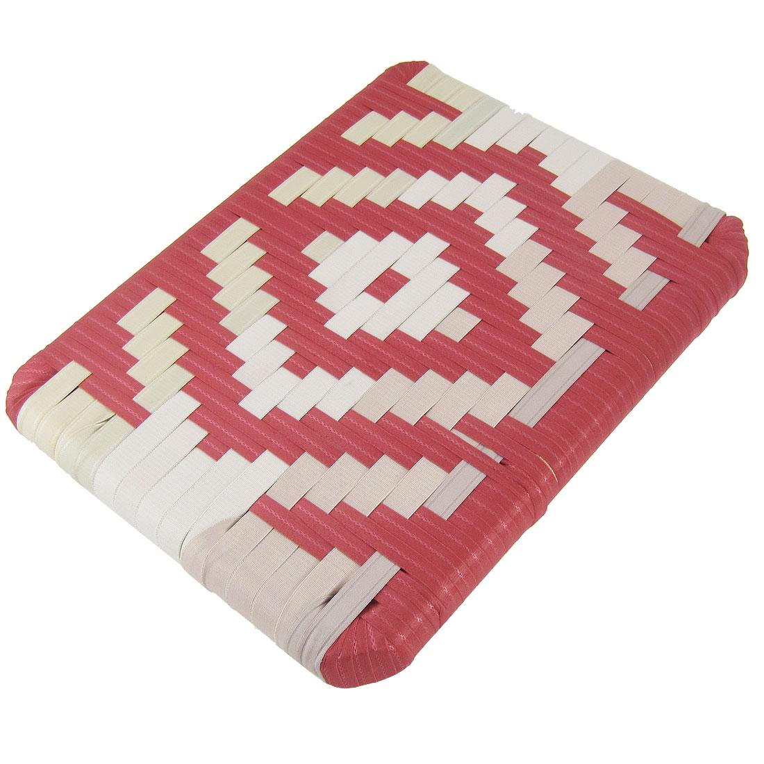 Red Ivory Band Weaved Rhombus Pattern Seat Cushion