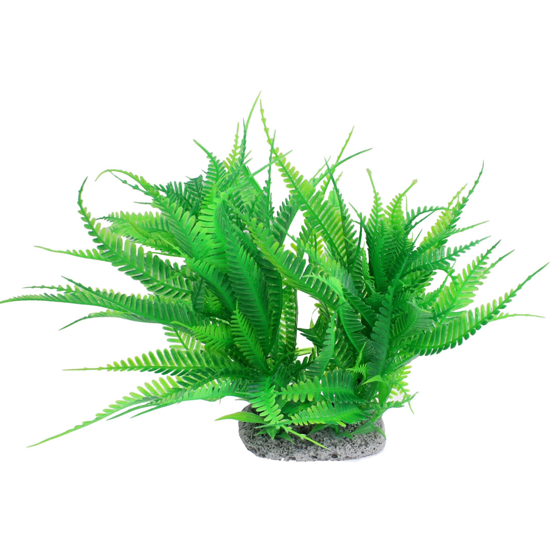 "9.8"" Height Green Artificial Plastic Slim Leaf Plant for Aquarium Tank"