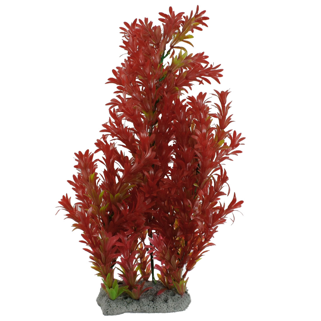 """Ceramic Base Short Leaf Design Red Green Plastic Plants Decor 17.7"""" for Aquarium"""