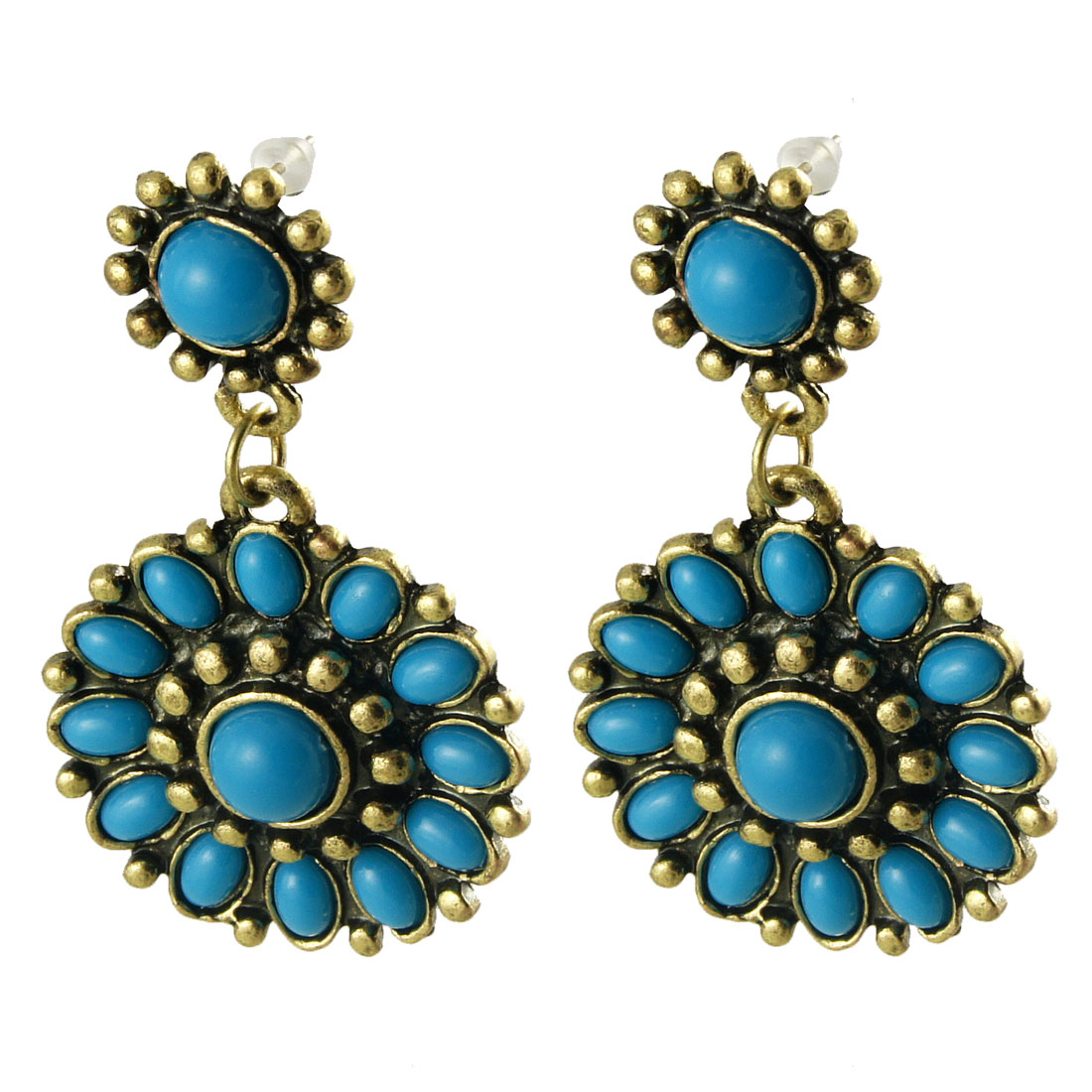 Women Bronze Tone Flower Shape Blue Plastic Beads Decor Pierced Stud Earrings Pair