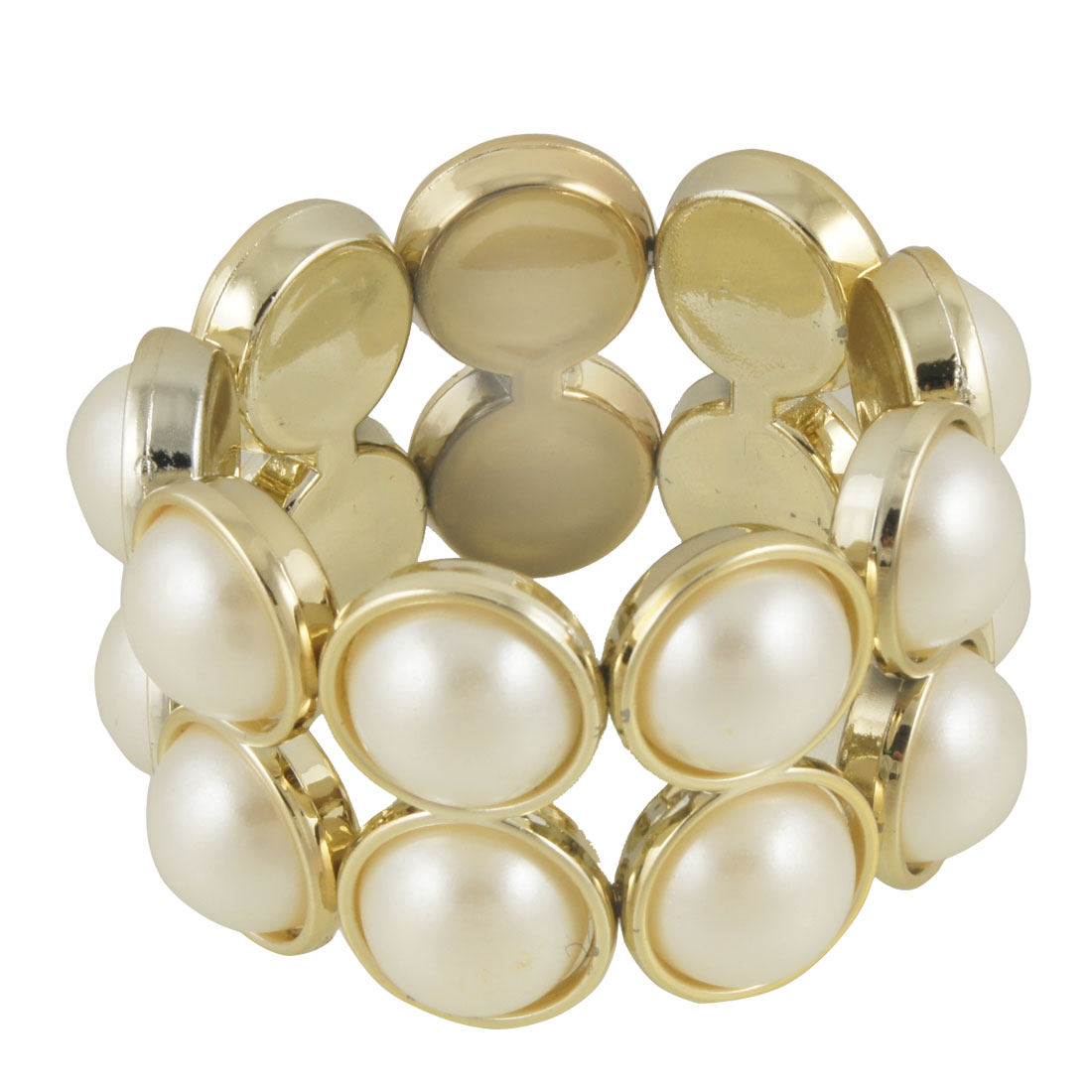 White Plastic Pearl Beads 2 Layers Elastic Bracelet for Lady