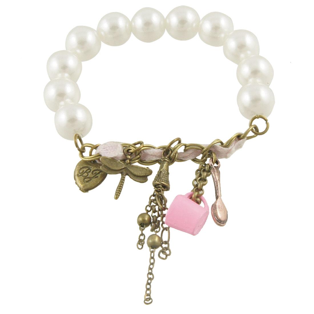 Lady Plastic Round Beaded Stretchy String Wrist Bracelet White