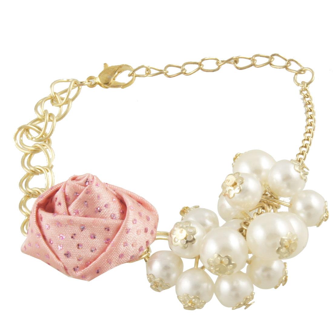 Women Lobster Hook Glittery Round Bead Pink Flower Decor Gold Tone Chain Bracelet