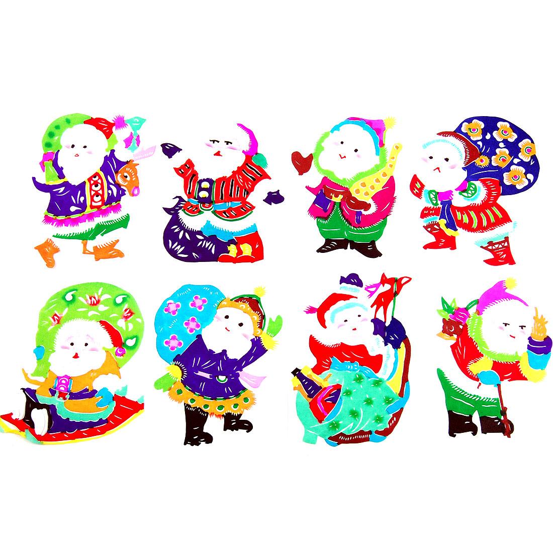 Colorful Santa Claus Handicraft Christmas Gift Chinese Papercut Book