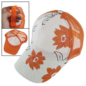 Orange Flowers Prints Sun Visor Adjustable Slouch Cap for Lady
