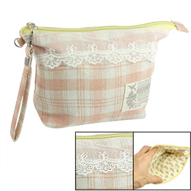 Peachpuff Beige Canvas Striped Checkers Pattern Lace Hem Makeup Bag w Strap