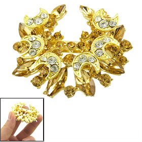 Lady Moon Star Design Crystal Rhinestone Decor Metal Pin Brooch Gold Tone