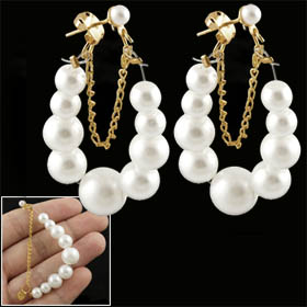 Pair Plastic Pearl Bead Flexible Chain Hoop Earrings for Women