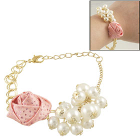 Women Lobster Hook Glittery Round Bead Pink Flower Decor Gold Tone Chain Bracelet