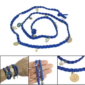 Persian Blue Faux Suede Braided Band Multi Layer Bracelet Bangle