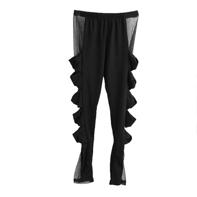 Woman Bow Sheer Tulle Sides Elastic Waist Skinny Pants Leggings Black XS