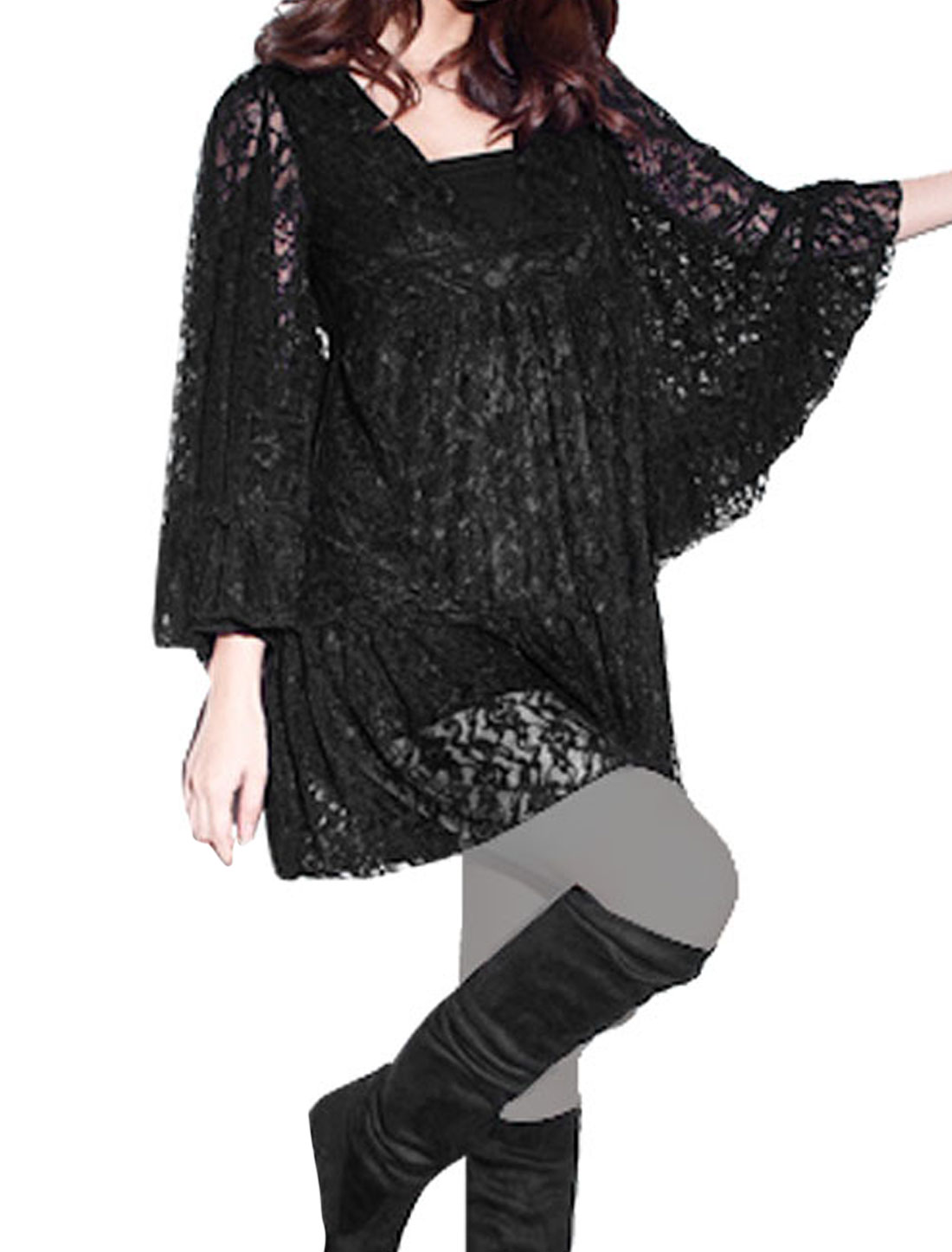 Woman Lace Guipure Sheer Sleeve V Neck Empire Waist Tunic Blouse Black XS