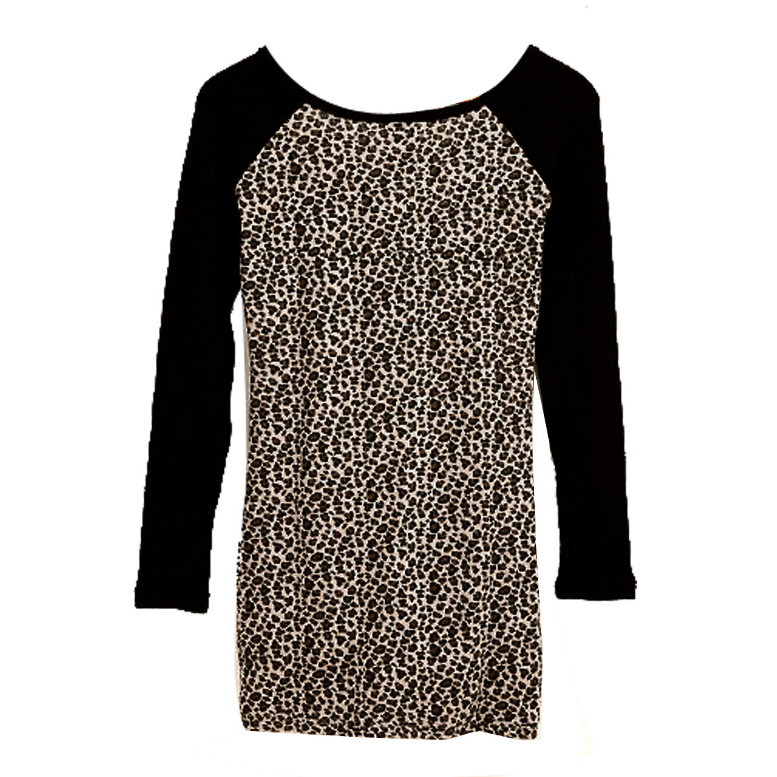 Women Black Brown Leopard Pattern Round Neck Long Sleeves Shirt XS